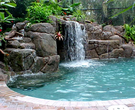 Rock Waterfall, Custom Pool, Inground Pools, Spas, Swimming Pools, The Clearwater Company, Columbia, SC