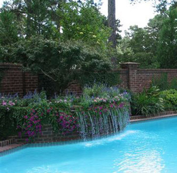 Planter with Spillover into Pool, Custom Pool, Inground Pools, Spas, Swimming Pools, The Clearwater Company, Columbia, SC